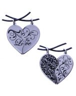 Silver/Black Two Hearts in Love Geocoin Set