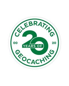 Celebrating 20 Years of Geocaching Sticker
