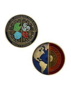 Four Elements Geocoin - Antique Gold