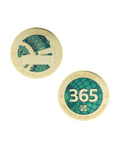 Challenges Geocoin and Tag Set - 365 Days of Geocaching