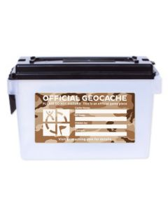 Clear Ammo Can Cache Container - Desert Camo