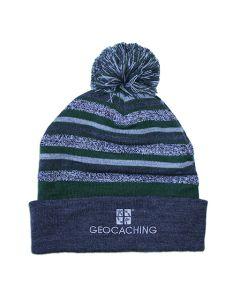 Geocaching Striped Knit Cap with Pom