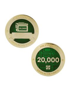 Milestone Geocoin and Tag Set - 20,000 Finds