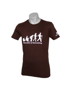 Evolution of Geocaching Tee - Brown-  SIZE SMALL