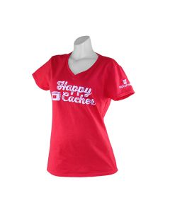 Ladies Happy Cacher V-Neck T-Shirt- Red