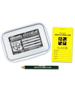 Official Medium Geocache with Logbook and Pencil - Urban Camo