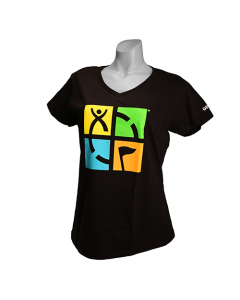 Ladies Geocaching Logo V-Neck Tee- Black