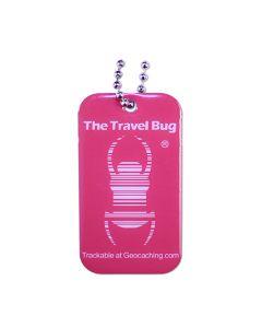 ATOMIC PINK Geocaching QR Travel Bug® - Glow in the Dark