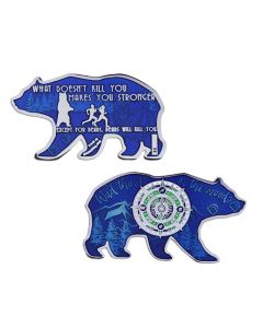 2018 Bear Geocoin- Blue with Nickel Finish