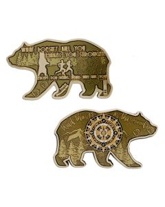 2018 Bear Geocoin- Gold with Antique Bronze Finish