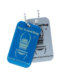 BLUE Geocaching QR Travel Bug® - Glow in the Dark