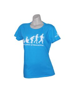 Ladies Evolution of Geocaching Tee - Caribbean Blue