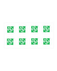 "8 Pack:  1"" Round Geocaching Logo Mini Sticker - White/Green"