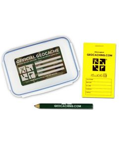 Official Small Geocache with Logbook and Pencil - Green Camo